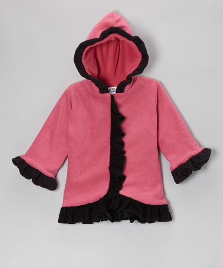 Watermelon & Black Fleece Anne-Marie Coat - Girls