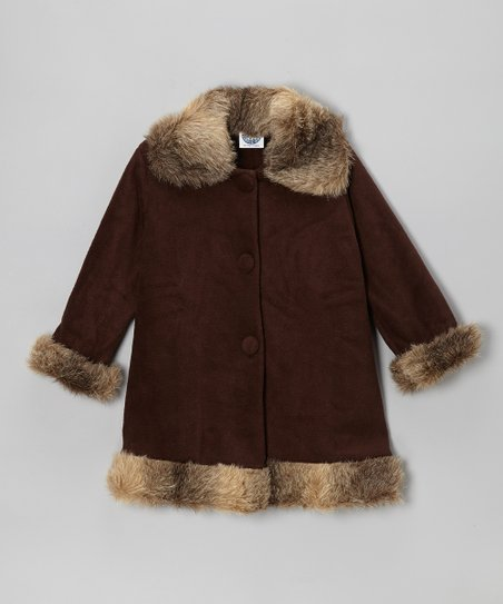 Brown Fleece Faux Fur Sweet Pea Coat - Girls