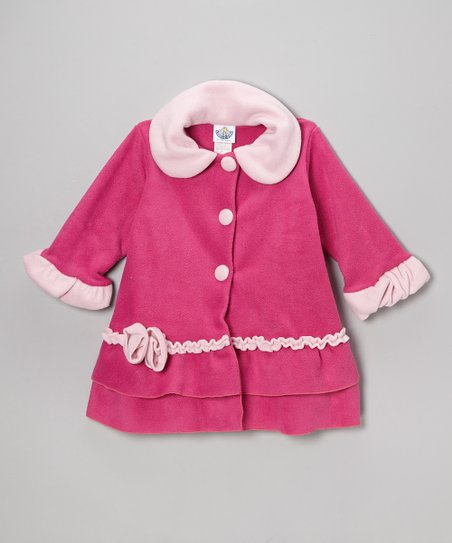 Fuchsia Fleece Sweet Pea Ruffle Coat - Toddler & Girls