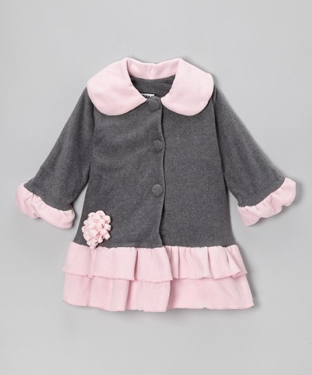 Gray & Pink Sweet Pea Ruffle Coat - Girls