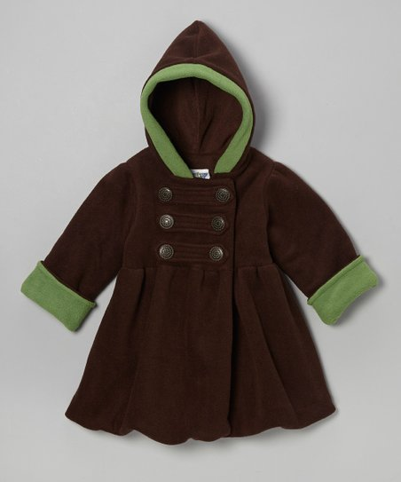 Brown & Green Fleece Mary Jayne Bubble Coat - Toddler & Girls