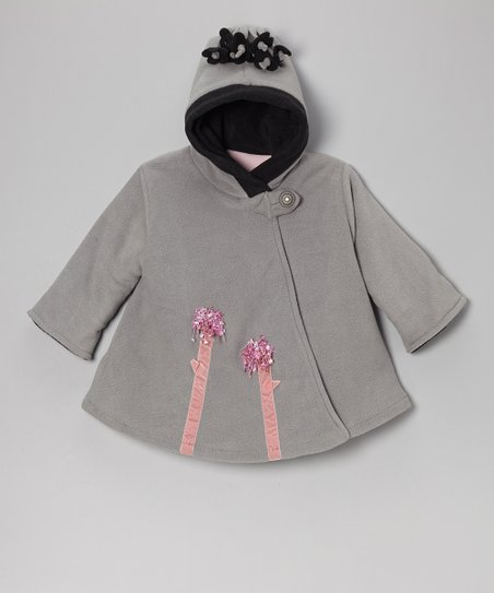 Gray & Black Fleece Wrap Swing Coat - Toddler & Girls