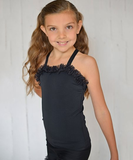 Black Cross-Back Ruffle Tank - Toddler & Girls