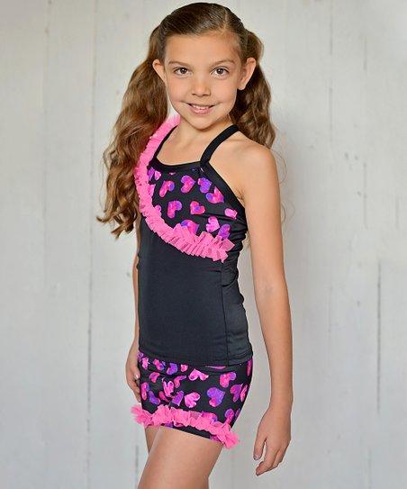 Pink & Indigo Heart Ruffle Tank & Shorts - Toddler & Girls