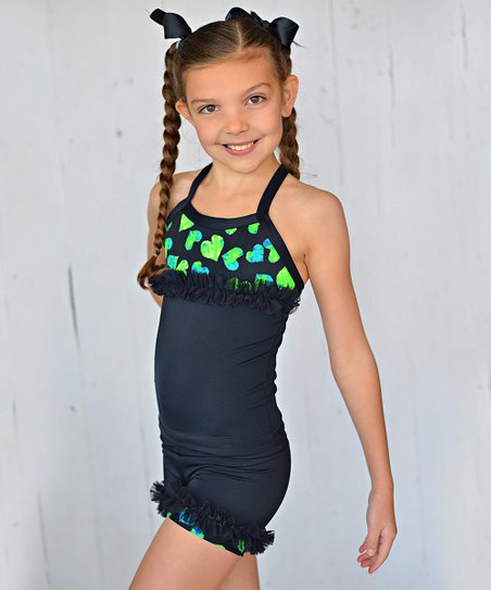 Black & Neon Heart Ruffle Tank & Shorts – Toddler & Girls