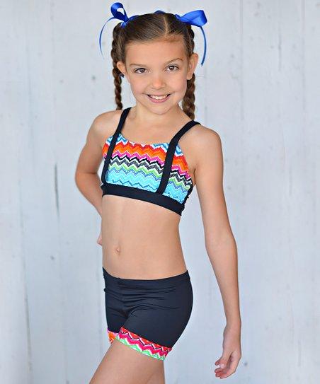 Aqua & Black Zigzag Crop Top & Shorts - Toddler & Girls