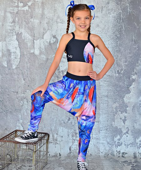 Navy & Black 'Daring Beauty' Crop Top & Pants – Girls