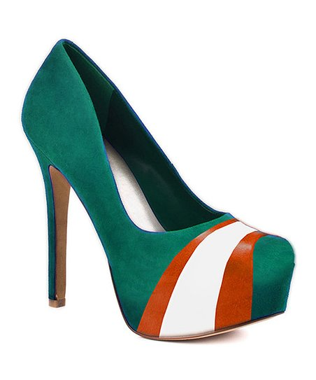 Miami Hurricanes Teal & Orange Suede Pump