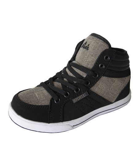 Black & Taupe Hi-Top Sneaker