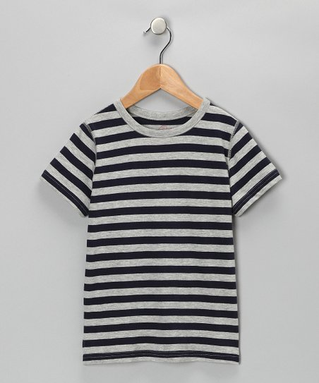 Navy & Gray Stripe Tee - Boys