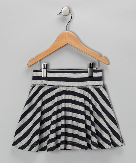 Navy & Gray Nautical Stripe Skirt - Girls