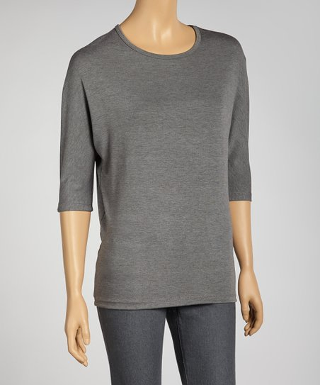 Gray Dolman Top - Women