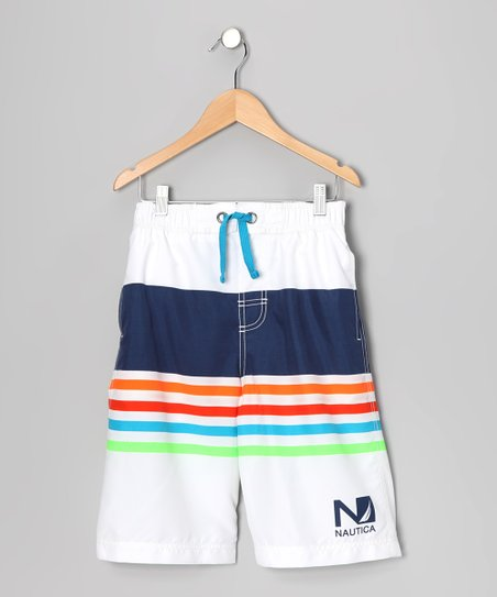Sail White Swim Trunks - Boys