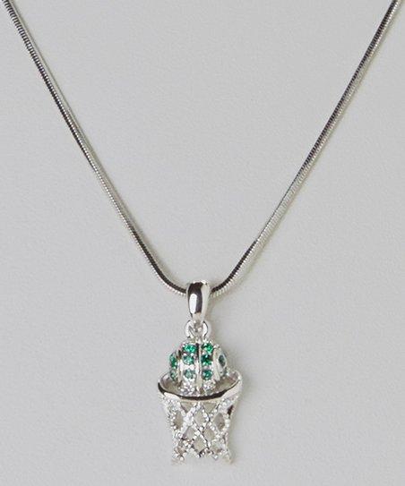 Green Crystal Mini Basketball & Hoop Pendant Necklace