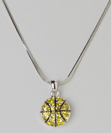 Yellow Crystal Basketball Pendant Necklace