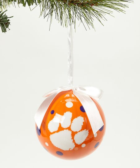 Clemson Polka Dot Ball Ornament