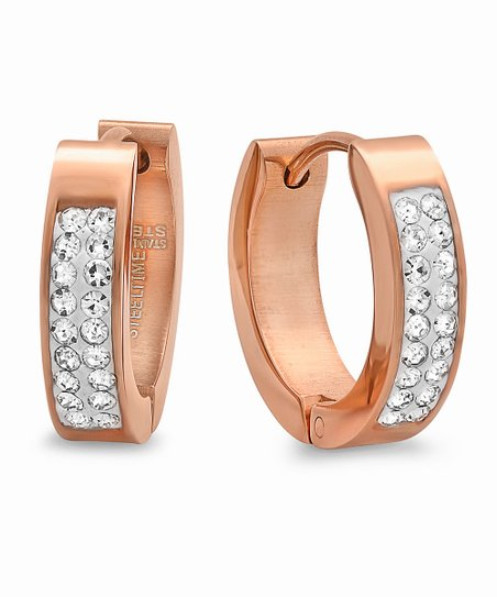 Rose Gold & Simulated Diamond Long Huggie Earrings