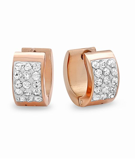 Rose Gold & Simulated Diamond Short Huggie Earrings