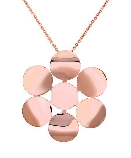 Rose Gold Modern Flower Pendant Necklace