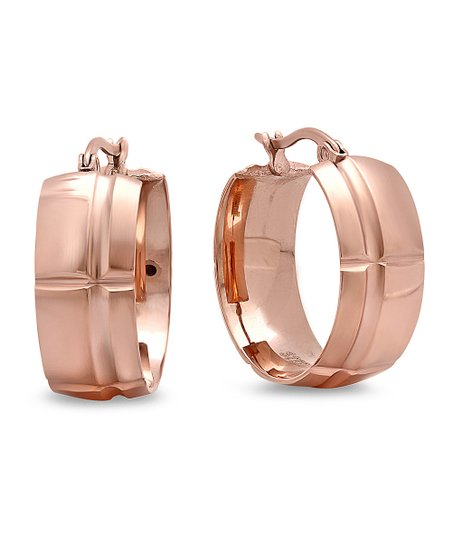 Rose Gold Embossed Mini Hoop Earrings