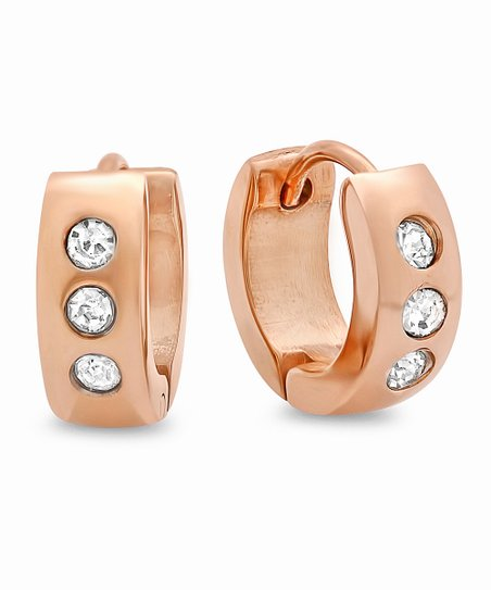 Rose Gold & Simulated Diamond Dotted Huggie Earrings