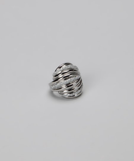 Silver Glitter Spiral Cocktail Ring