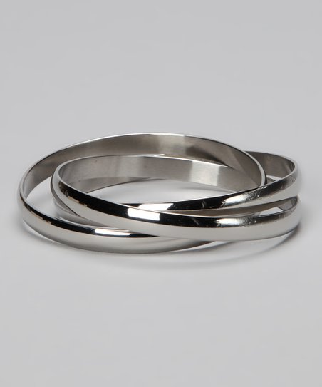 Silver Classic Layered Bangle
