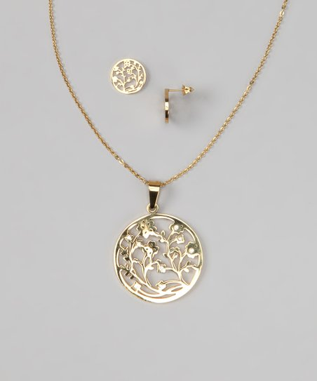 Gold & Simulated Diamond Floral Pendant Necklace & Earrings
