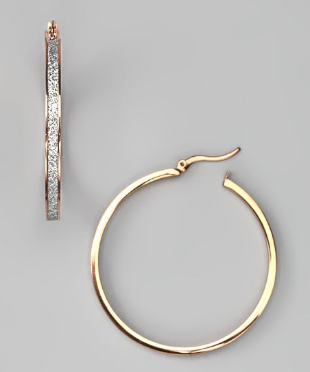 Rose Gold & Glitter Finish Hoop Earrings