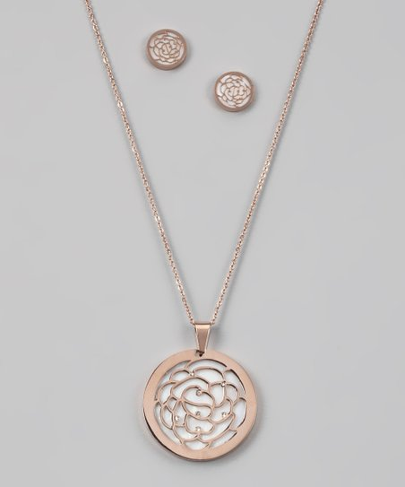 Rose Gold &amp; Simulated Diamond Rose Pendant &amp; Earrings