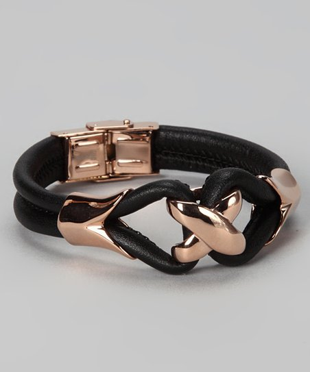 Rose Gold &amp; Black Leather Bracelet