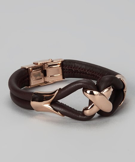 Rose Gold & Brown Leather Bracelet