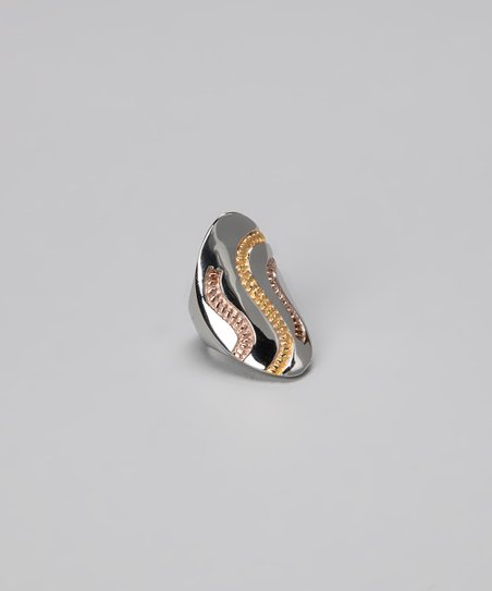 Tricolor Engraved Cocktail Ring