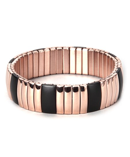 Rose Gold &amp; Black Stretch Bracelet