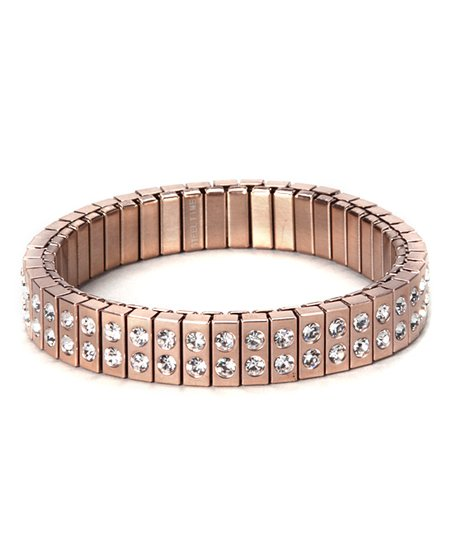 Rose Gold &amp; Simulated Diamond Rows Stretch Bracelet