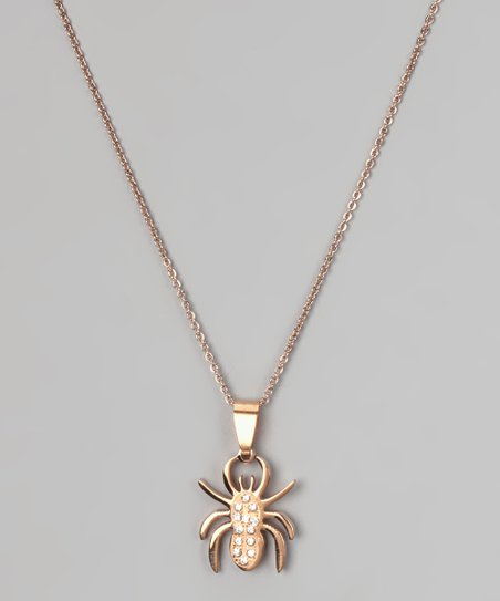 Rose Gold & Simulated Diamond Spider Pendant Necklace
