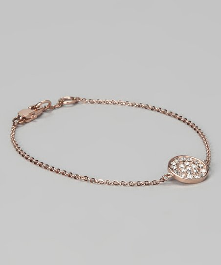 Rose Gold &amp; Simulated Diamond Chain Link Bracelet