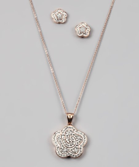 Rose Gold & Simulated Diamond Flower Pendant Necklace & Earrings