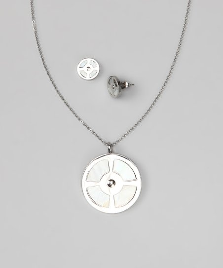 Silver &amp; Mother-of-Pearl Circular Pendant Necklace &amp; Earrings