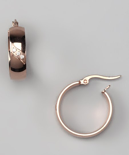 Rose Gold & Simulated Diamond Mini Hoop Earrings
