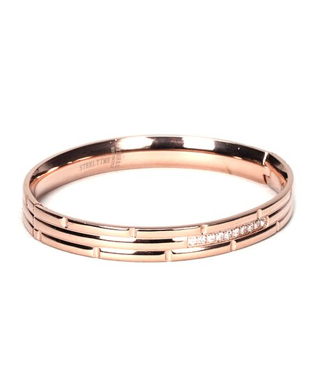 Rose Gold &amp; Simulated Diamond Bangle