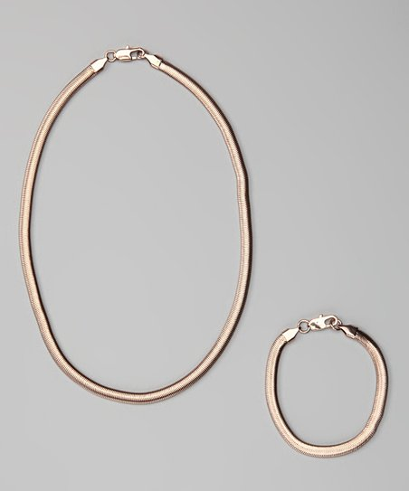 Rose Gold Snake-Link Bracelet &amp; Necklace