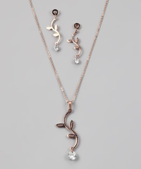 Rose Gold &amp; Simulated Diamond Vine Pendant &amp; Earrings