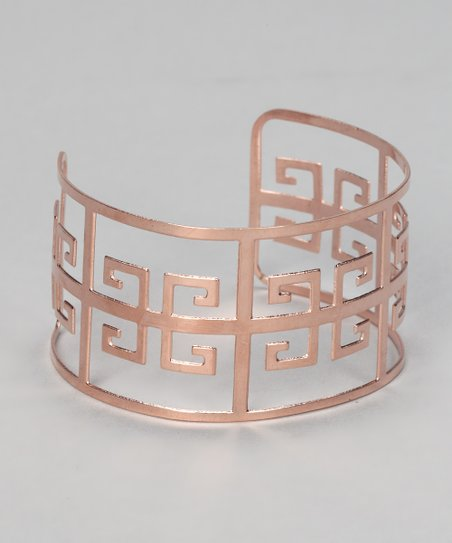 Rose Gold Greek Key Cutout Cuff