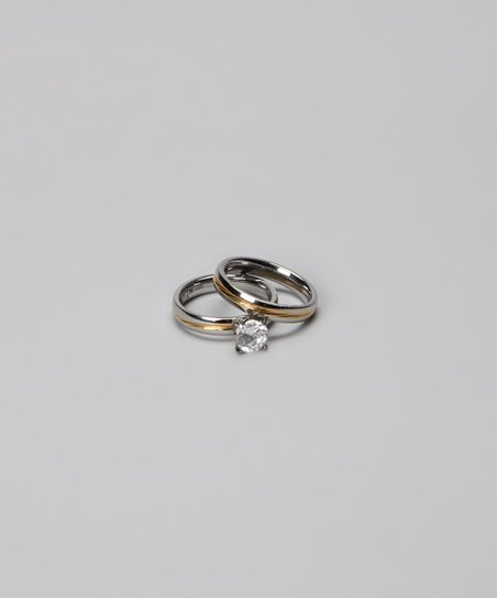 Gold & Silver Solitaire Ring & Wedding Band Set