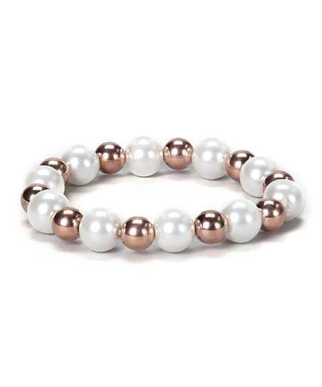 Rose Gold & Simulated Pearl Beaded Stretch Bracelet