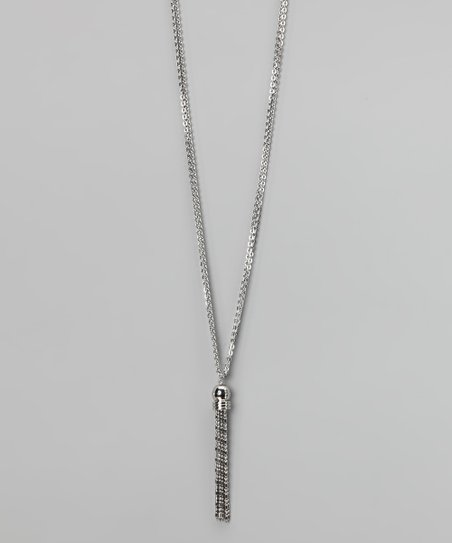 Silver Simulated Diamond Layette Necklace