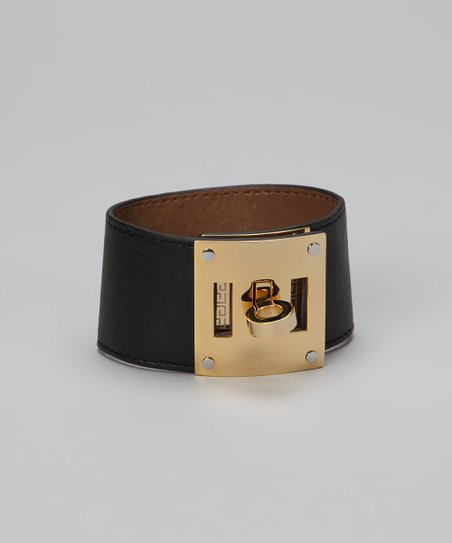Gold & Black Turn Key Leather Cuff
