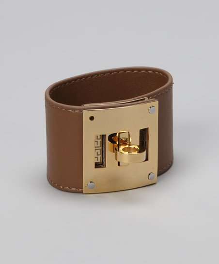 Gold &amp; Tan Turn Key Leather Cuff