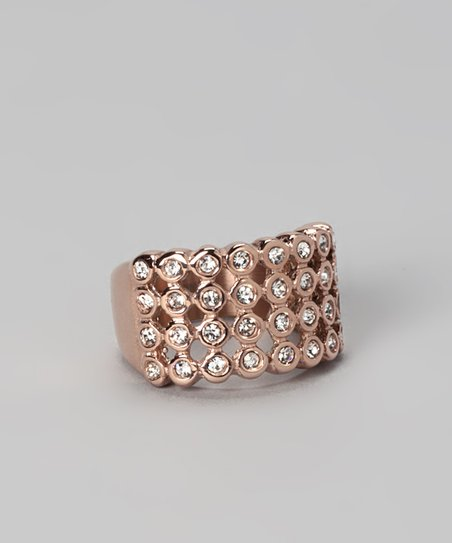 Rose Gold &amp; Cubic Zirconia Dome Cocktail Ring